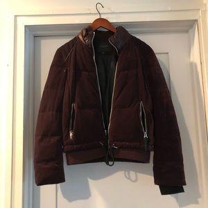 Marc New York Purple/ Maroon Velvet puffer coat